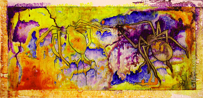 Acrylic abstract painting featuring a pair of spiders