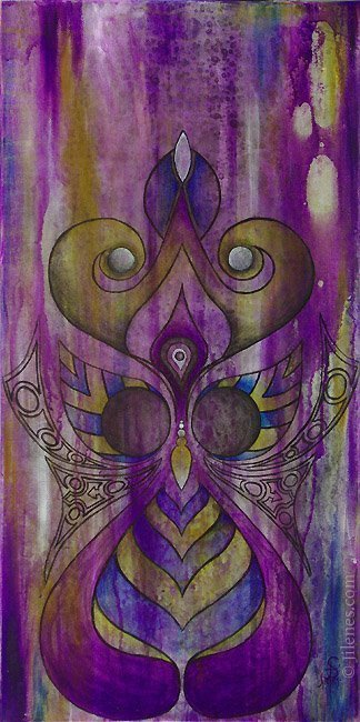 Purple acrylic painting with graphic design of an owl