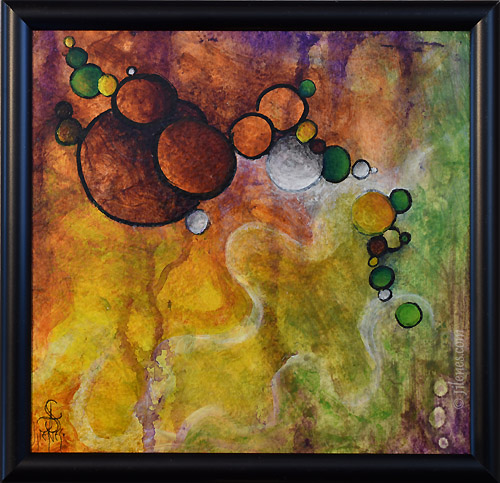 multicolored abstract painting with circles
