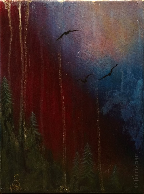 Dark colored painting of evergreen tree, clouds and birds by Jilene Schafers
