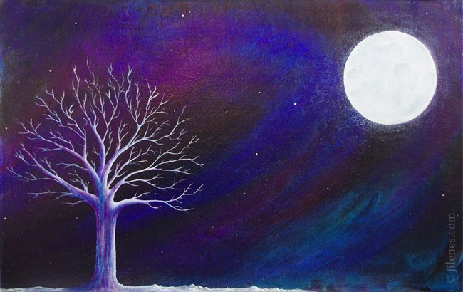 Painting of night winter scene with Northern Lights, moon and bare tree