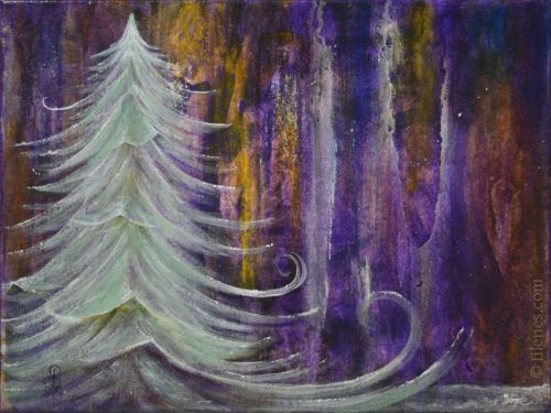 Abstract purple, white and yellow Acrylic background with white evergreen tree on foreground