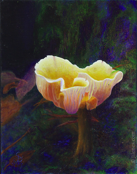 High realism acyrilc painting of a mushroom and moss