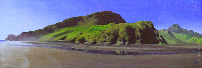 Acrylic landscape painting of a black sand beach on the North Island of New Zealand