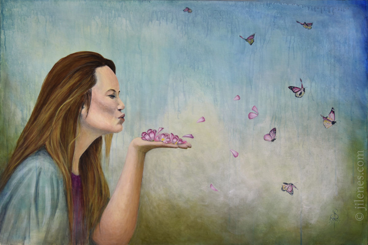 Acrylic painting of a woman blowing petals from her hand that turn into butterflies
