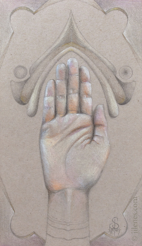 Colored Pencil drawing of a hand, palm facing up on toned paper with other design elements