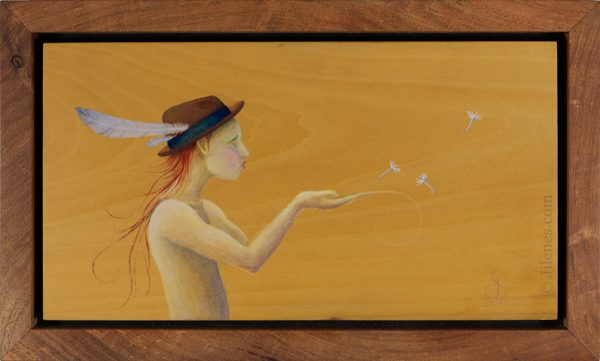 A handmade mesquite woodframed Acrylic painting on wood of an elfish character in a hat blowing dandelion seeds