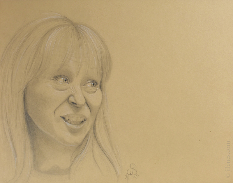 Graphite drawing of a woman with an unusual expresssion, on toned paper