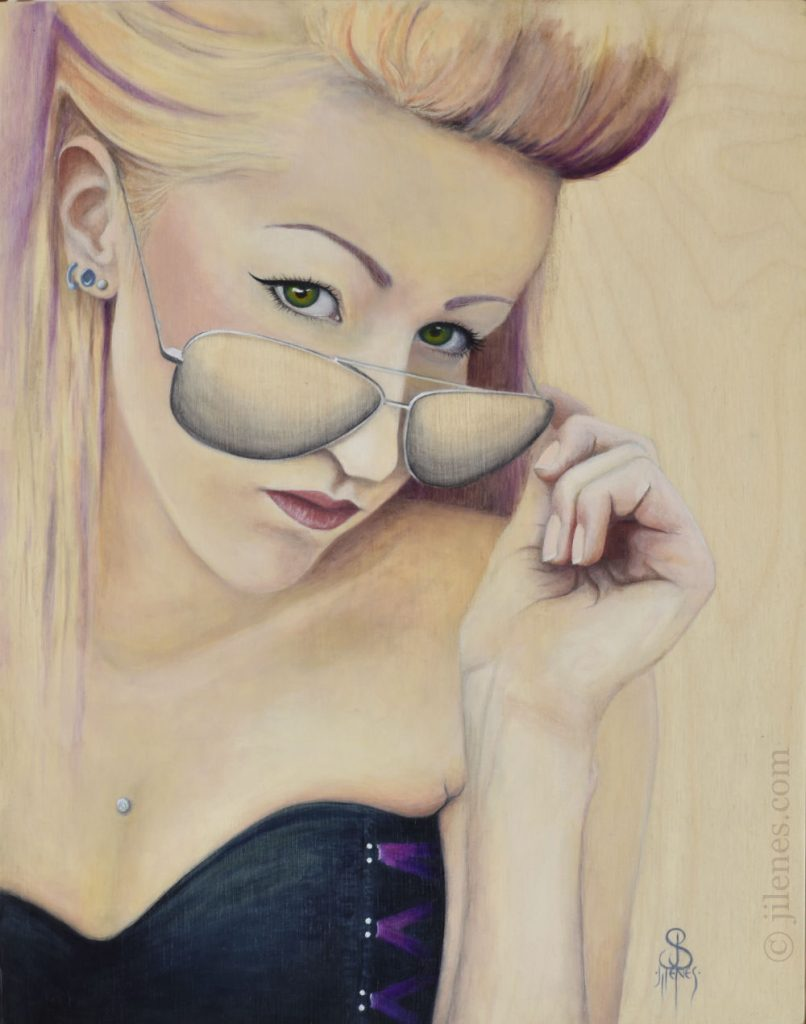 Acrylic painting of a woman wearing a black corset and aviator sunglasses with purple streaked hair