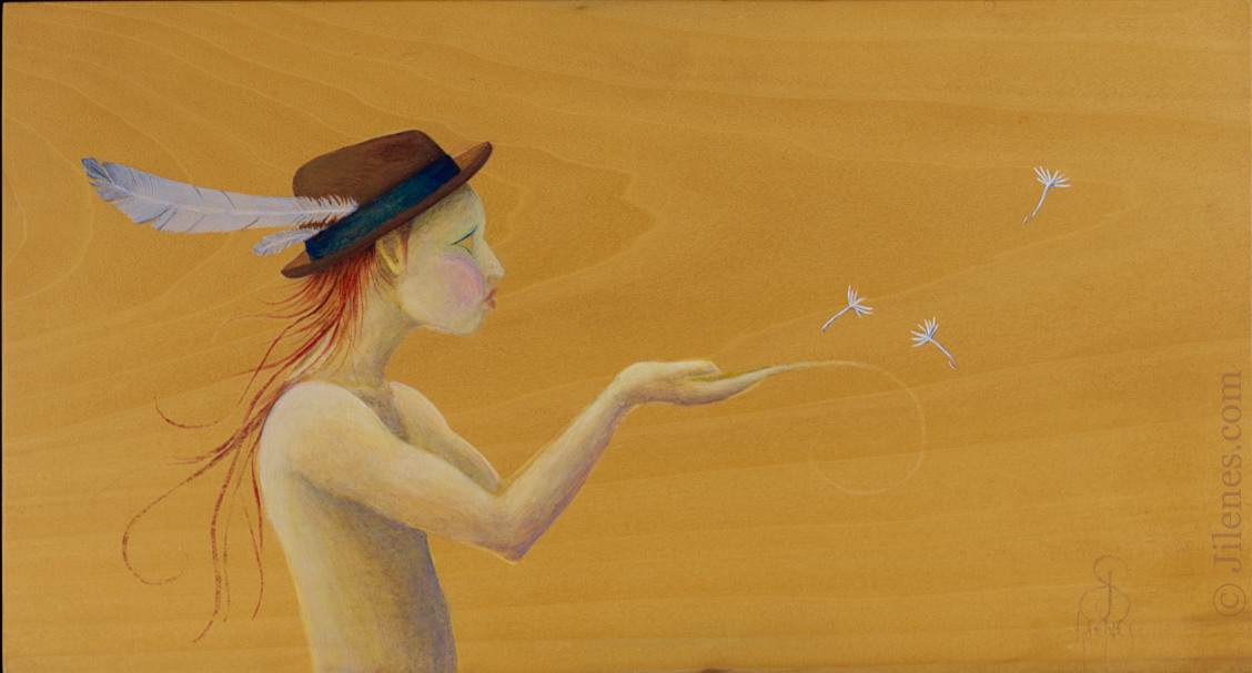 Acrylic painting on wood of an elfish character in a hat blowing dandelion seeds