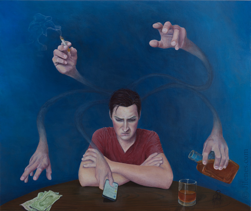 Painting of a man sitting in a dark room with ethereal hand reaching from his head to grab at hi addictions