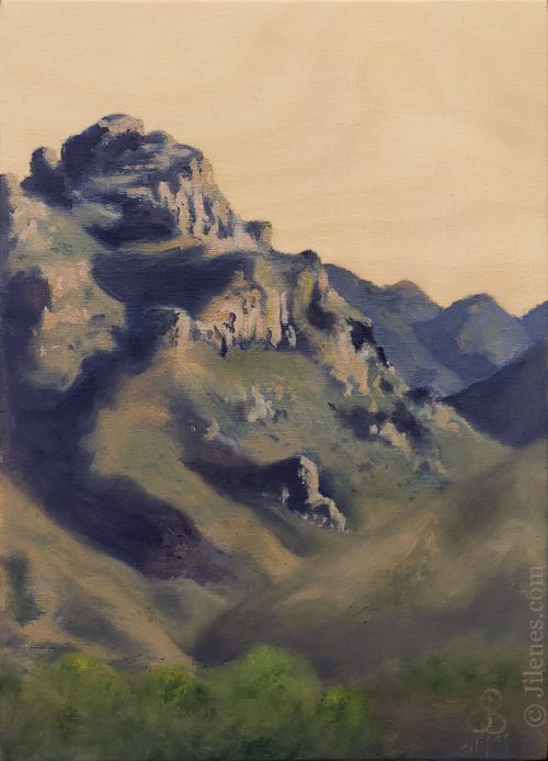 oil painting on wood of a desert mountain with wood sky